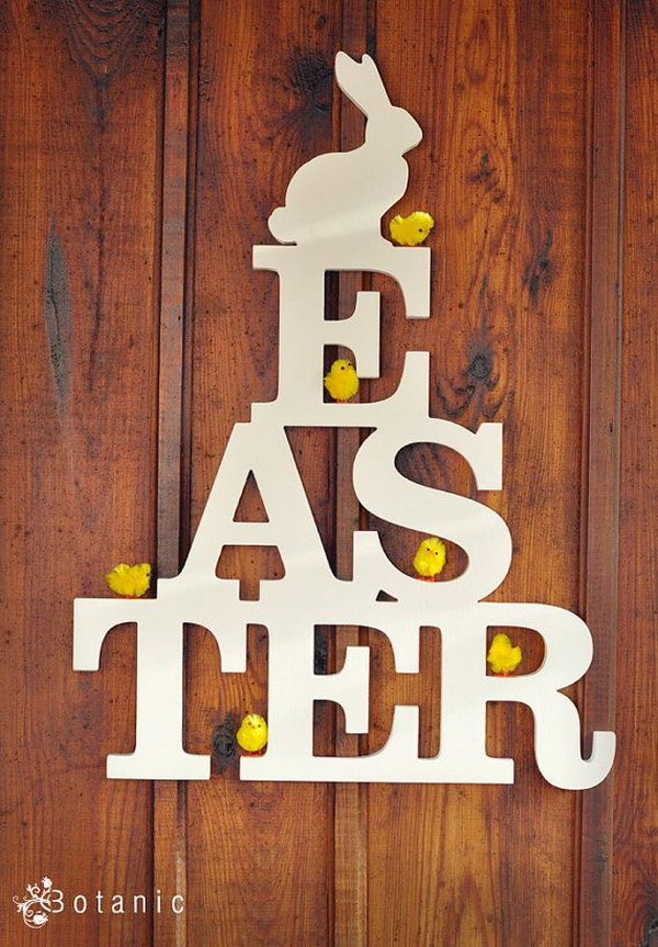 Wooden Easter sign with white bunny on the top gives off a vintage style, it looks so fantastic that I can't wait to display it on the wall or the hang on the door.