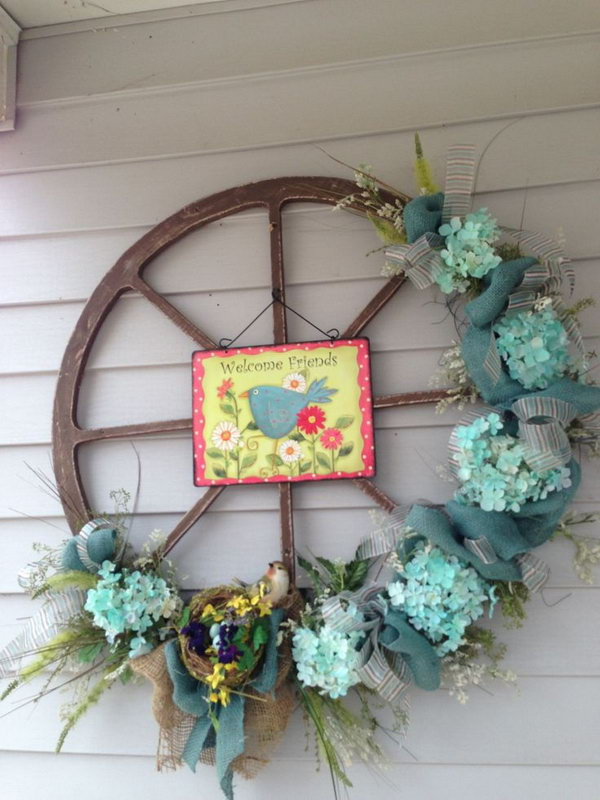 Easter Decorated Wheel Wreath Becomes A Traditional Way For Decoration With Egg