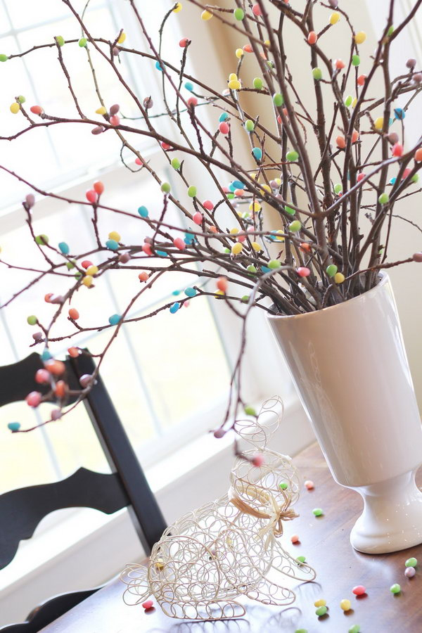 Jelly Bean Tree. Make the best use of the cute jelly beans and some branches. You can DIY this colorful jelly bean tree for the Easter. The best advantage is that you can keep this amazing decoration for the entire year.