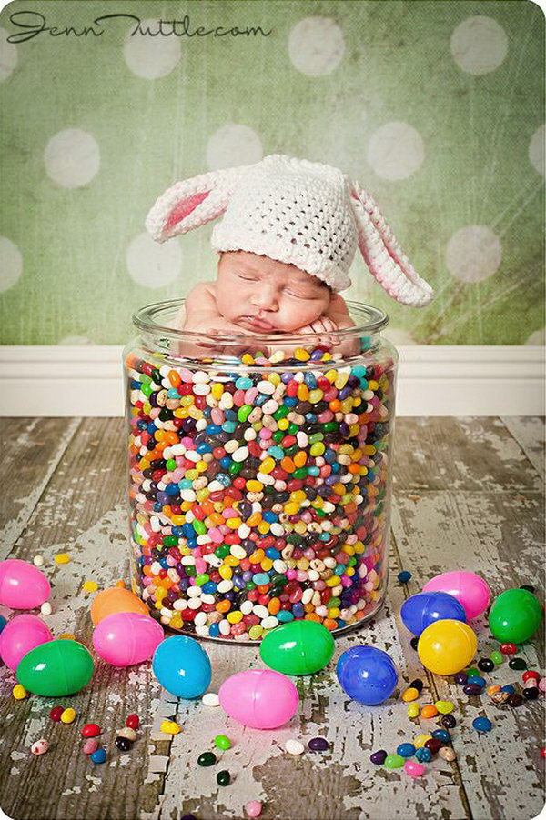 Fun and festive easter photo ideas hative baby in jelly beans the infant can sit in this big jar and then filled negle Image collections