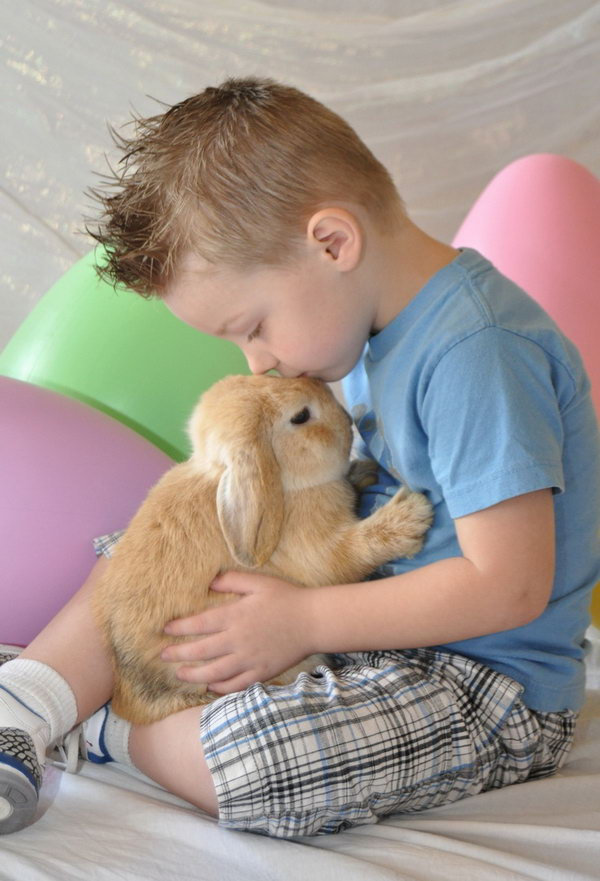 Easter Photo with Live Bunny. The boy is gently kissing the cute bunny which adds a tender flavor to this scene. The colorful big Easter eggs behind the boy embellish the Easter atmosphere for this adorable photo.