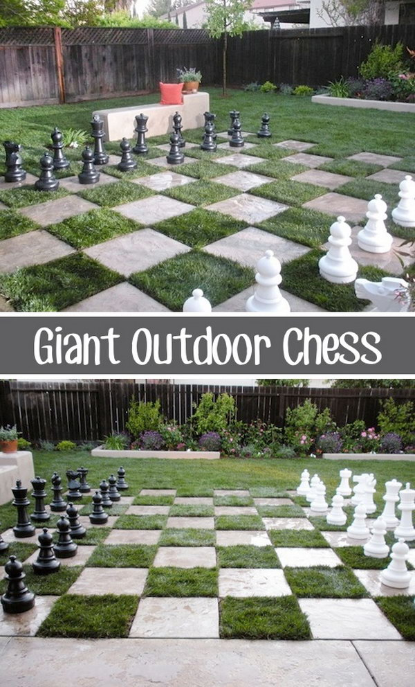 Giant Outdoor Chess. I absolutely love the idea of taking it outdoors. This would not only be fun, but would keep us active and healthy.