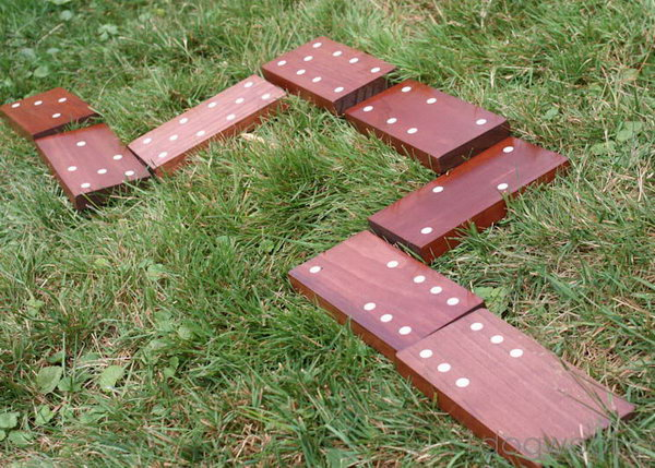 Dominoes. These life sized dominoes made from wooden boards and stickers will provide fun for hours, and you've got a summer of fun.