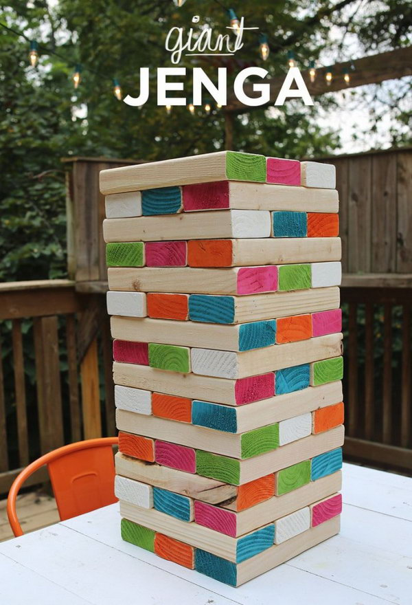 Giant Jenga.Play with your family at weekends or holidays,and you will have a unforgettable memory.The colors we add give the whole thing some sparkle and personality.