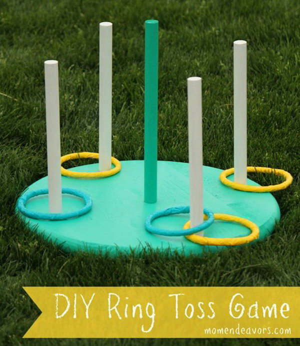 Ring Toss Game. The further you stand back, the harder it gets. In order to make it more challenging and entertaining, you can mark lines in the yard and assign each one with a different point value.