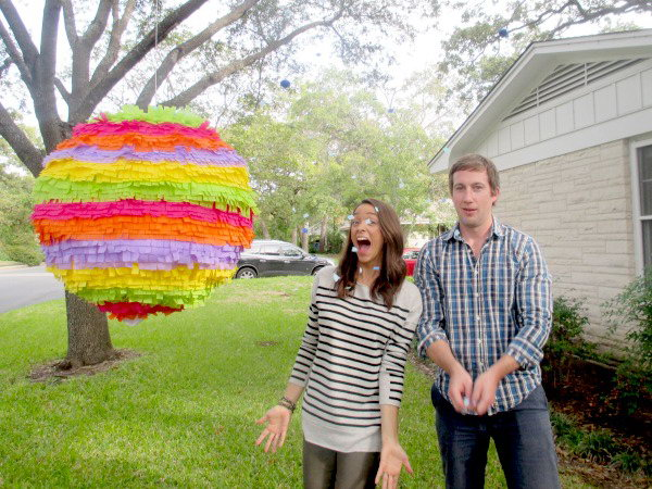 Surprise Lantern Gender Reveal Party. Pose under your giant pinata to share the announcement by the countdown and releasing the pinata from the tree, as it tumble to the grass, the confetti either pink or blue spill out to share the big news.