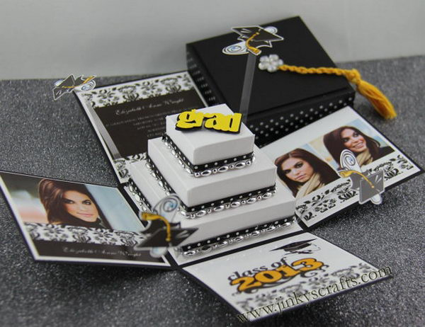 3D Pop up Graduation Invitation. Refresh the eyes of all your friends and relatives with this unique 3D pop up graduation invitation, It's such a creative craft that you may treasure forever to recall your graduation memory.