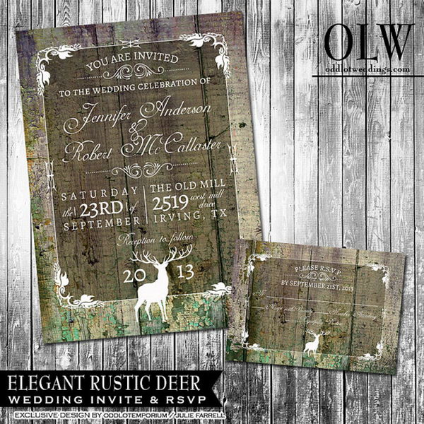 Rustic Graduation Announcement. This rustic graduation announcement features a mossy green faux wood background with a cool frame border and buck. Set up the tone for your graduation party with this fantastic art piece.