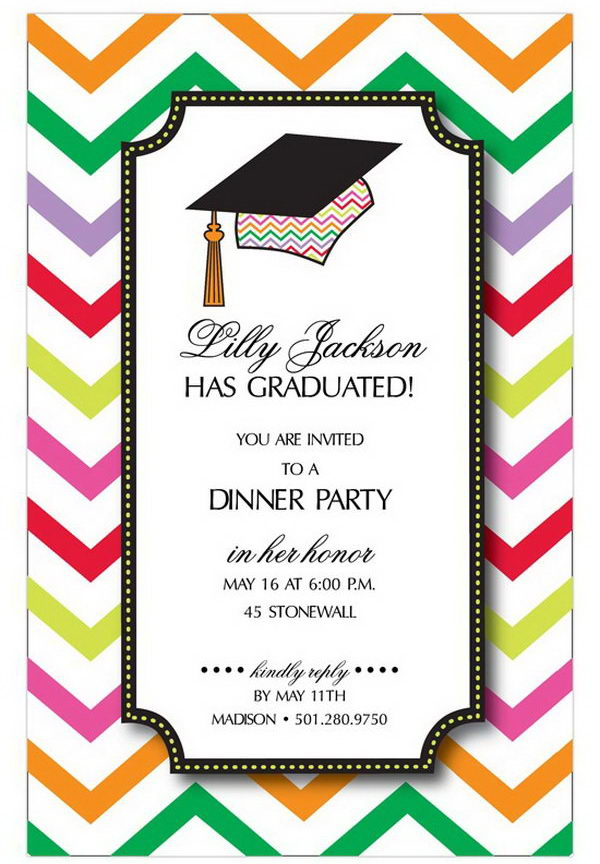 Chevron Graduation Cap Announcement. This graduation announcement features a graduation cap as well as the chevron pattern in bright colors. It's perfect to mark the graduation status for young graduates. The bright colors reflect the bright future of the graduate too.