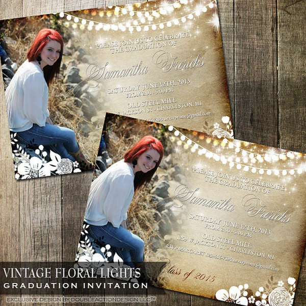 Rustic Vintage Floral Graduation Announcement. Everyone must be impressed by its faux parchment paper background, vintage flowers, hanging lights. All the details make it ornate and stunning for a unique and fashionable graduation announcement.