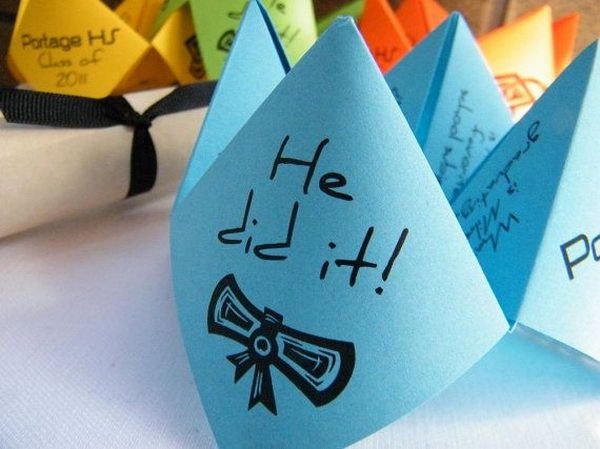 Cootie Catchers Graduation Announcement. Here offers a unique way to share your great news with friends and relatives about your graduation. The cootie catcher design is just so creative and interesting. I just can't imagine this fantastic inspiration idea.