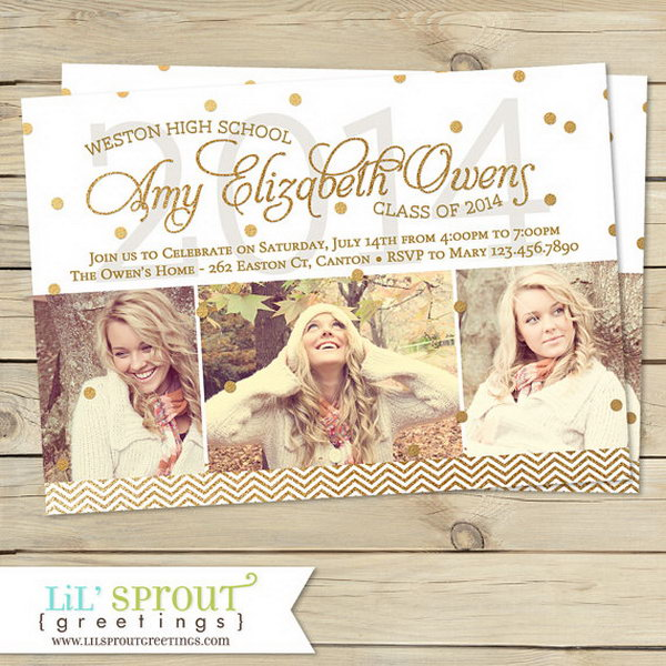 Modern Gold Graduation Announcement. Announce your graduation with this modern gold graduation announcement in a classy design. Your friends will definitely be impressed by it.