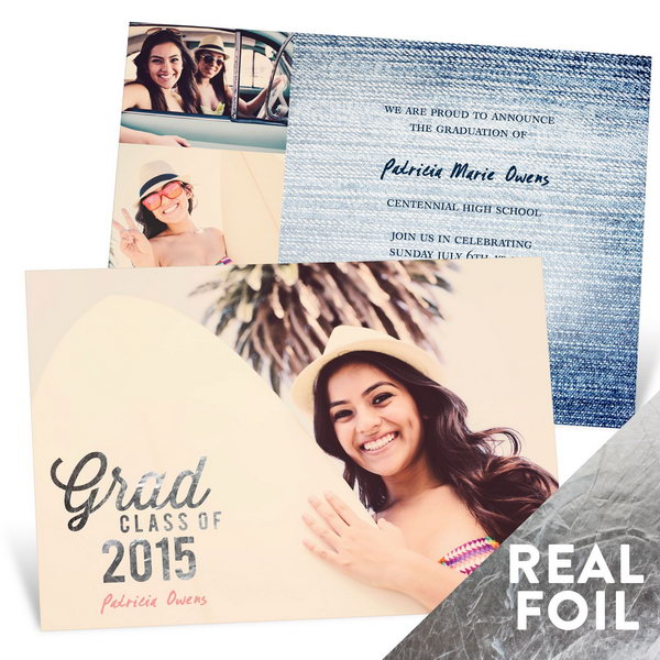 Silver Foil Graduation Announcement. Mark your graduation status with this adorable graduation announcement featuring a sparkling silver foil stamp on the front. Personalize your own with your name, date, graduation details as well as your favorite color to your characteristic style.
