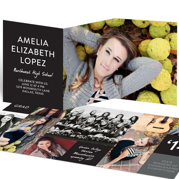 Color Block Tri Fold Graduation Announcement. Announce your unique graduation with this graduation announcement. It features a solid background at the front and blocks of color at the back. Every detail will make it a keepsake with its memorable look.