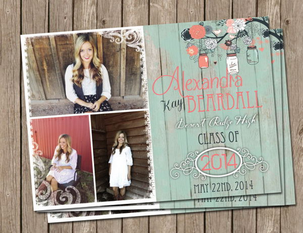 Rustic Graduation Announcement. Give off a fresh rustic look with this mint color graduation announcement. The rustic floral pattern will refresh your graduation announcement style to impress all your friends and relatives.