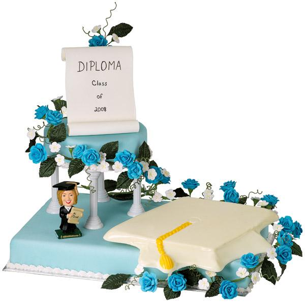 Congratulate the Graduate Cake. This well refined two tiered cake features a diploma and mortarboard for the great celebration of the graduate with a personalized character.
