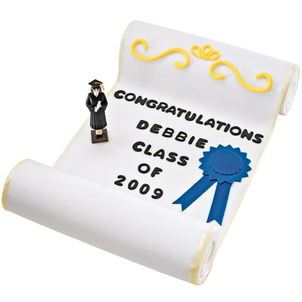 Senior Scroll Cake. Hats off to your graduate's success with this personalized three tiered cake! Decorate with black tinted fondant to create the message for alphabet and numbers.