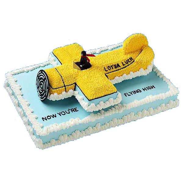 Plane Landing  Graduation Cake. Unlike the usual graduation cake with a graduation cap or diploma design, this gorgeous cake features a plane landing on  the top of the cake board. It resembles a good wish that the graduate could fly high in the near future to accomplish bigger achievements.