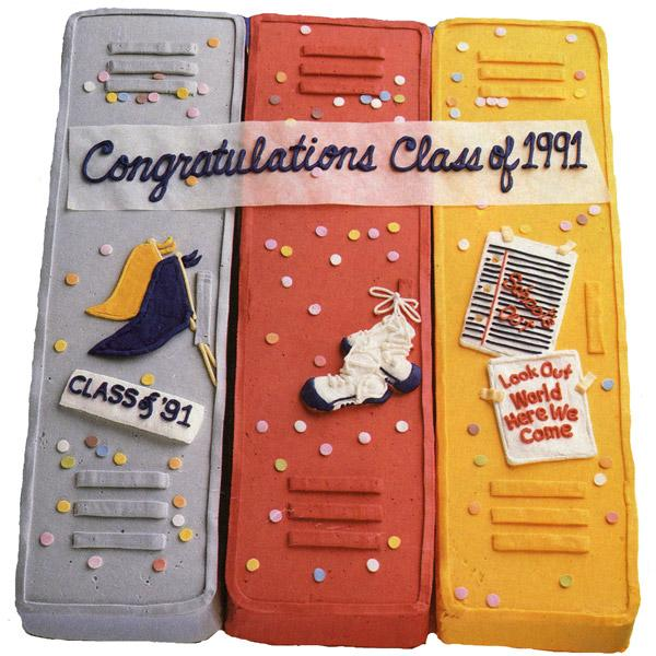 Lock up Graduation Cake. This stunning locker shaped graduation cake creates a unique way to say congratulations with its unique outlook. Position cakes together on serving board, outline each pendants, shoe and note paper. Add confetti to finish off this awesome graduation cake.