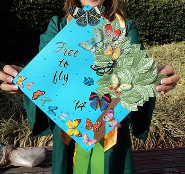 Flying Butterflies Graduation Cap.  I can't believe my eyes for the stunning beauty of this cap with colorful butterflies in various patterns and green sparkling grass. It combines the natural elements into the intricate layout of the graduation cap.