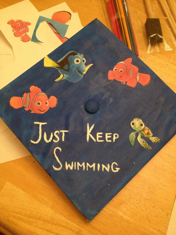 Just Keep Swimming Graduation Cap. Encourage the graduate with this funny graduation cap. It's time to display your drawing skills. Cover the cap board with a funny painting with lively fish on it.