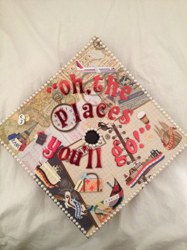Graduation Cap Decoration. Design this stunning graduation cap with shining alphabet characters as well as classy paintings with various vehicles as well as pearl decor around the rim as well as the central part.