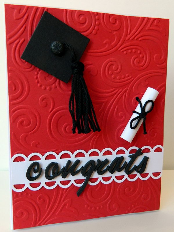 Beautiful Graduation Card Ideas To Make Part - 10: Make This Well Refined Graduation Card From Embossing Folder With Intricate  Swirl. Use Black Square