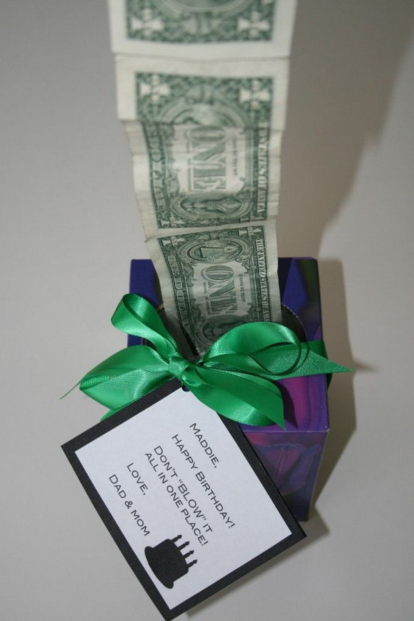 Unique Money Graduation Gift. Tape bills together and roll inside. Attach a card with funny wording to creative a funny way to send gift with cash to graduates to celebrate their achievements.