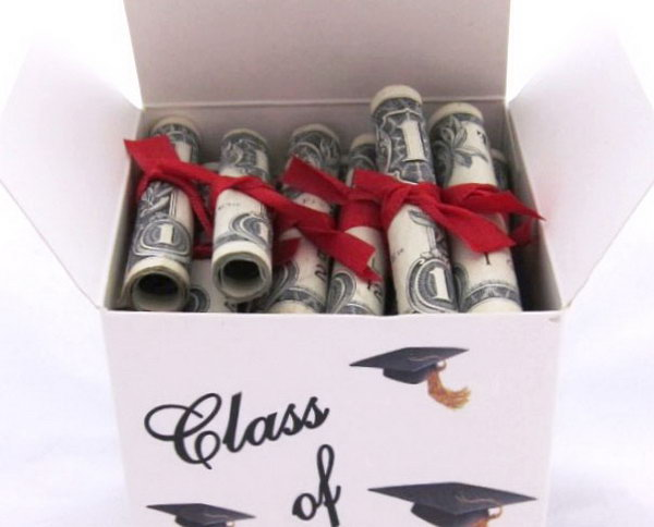 Cash Diplomas. Roll up cash bills, tie them with a ribbon and place them in a huge gift box. You can use graduation cap stickers to coordinate with the graduation theme perfectly.