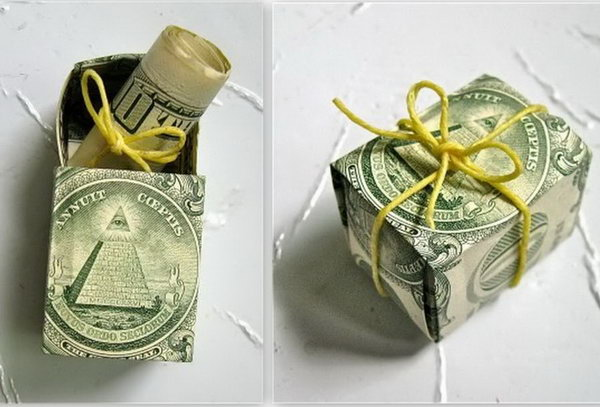 Cash Box Graduation Gift. Nothing hits the graduate more that this fantastic money in money style. Fold the bills into a box style and roll one bill into the diploma style and tie a cute twine. Place the cash diploma into the cash box. Just so fabulous!