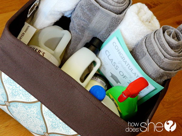 Laundry Gift Basket. Load the basket with every laundry supply you could imagine, towels, detergent, fabric softener, dryer sheets, bleach, stain removal and rolls of quarters for those first for daily use. It is not only very funny but also very helpful to send such a graduation gift. http://hative.com/graduation-gift-ideas/