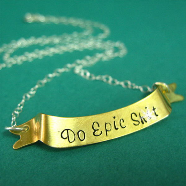 Brass or Copper Banner Necklace. Why not try something decoration graduation gift idea with this sterling silver chain necklace. Different from traditional engraving, each individual part is stamped by hand to make the statement for its uniqueness and high quality. http://hative.com/graduation-gift-ideas/
