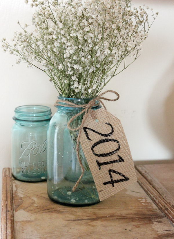 DIY Graduation Party Decoration Ideas Rustic Burlap Table Tag Put A Bundle Of Flowers In The Mason Jar Vase
