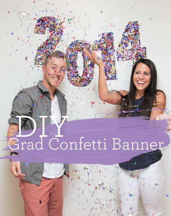 Graduation Confetti Banner. Use the foam brush to apply mod podge to  numbers and sprinkle on the confetti. Hang in the background for party decorations to create a stunning festive visual effect.
