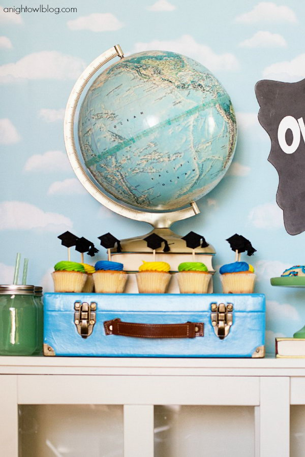 Suitcase and Globe Graduation Decoration. Anchor your party set up with this interesting small suitcase and globe. This decoration style matches perfectly with the theme. It bears a good meaning too, you're off to good places! Get on your way!
