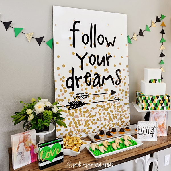 block garland graduation decor its super chic to decorate your graduation party with this gorgeous - Graduation Party Decoration Ideas