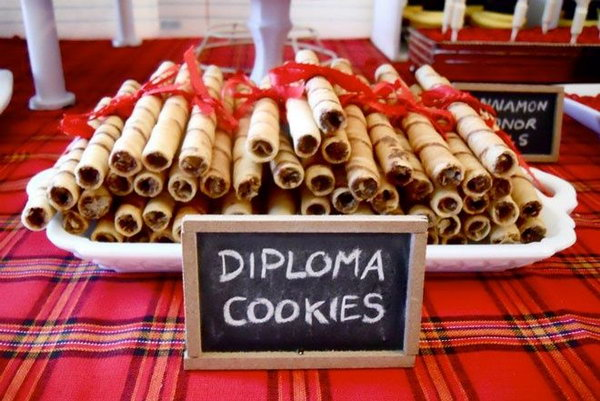Diploma Cookies. Where you intend to plan a giant blow or small gathering with your intimate friends, this diploma graduation themed finger food will definitely get your party dolled up with sweet desserts in fantastic shapes.
