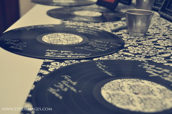 Vinyl Record Guest Book Idea. Many of your guests must be crazy music fans. Why not use the vinyl record for them to leave their autographs with silver or gold marker pens?