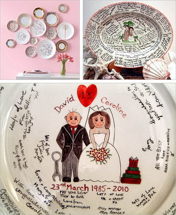 Guestbook Platter. After leaving messages on the platter by all your guests, bake them in your home oven for good protection to seal on the messages so you can treasure and display them for a long time.