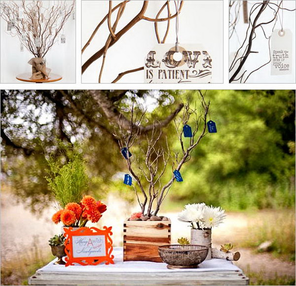 Wishing Tree Guestbook. Create a stunning focal point by hanging sweet messages written by guests on the beautiful wishing tree. This creation idea is inspired by a Dutch tradition.