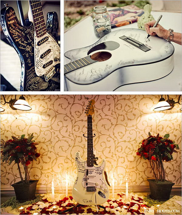 Guitar Guestbook. If you are crazy about music, you can repurpose your guitar to serve as a guestbook. It will generate an awesome conversation when hang and display on the wall. All you need to do is to cover it with a protective coat.