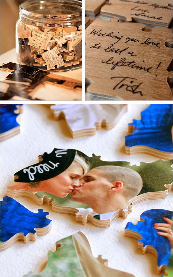 Guestbook Puzzle. Select the favorite portraits by the bride and groom for the front side of the puzzle. Leave guests' personal comments on the back side. It's super funny and exciting if you ask guests to put them together by following your clues.