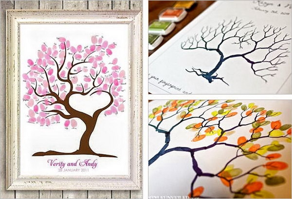 Fingerprint Guestbook Idea. How to create an art piece for your guest book? Invite your guest to add their thumb prints to create leaves instead of placing signatures or messages to break out from the ordinary way.