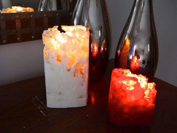 Ice Candles. What can you do with some wax, taper candles, milk cartons, a melting pot and some ice? A perfect idea is to create some ice candles for parents as Christmas gifts.