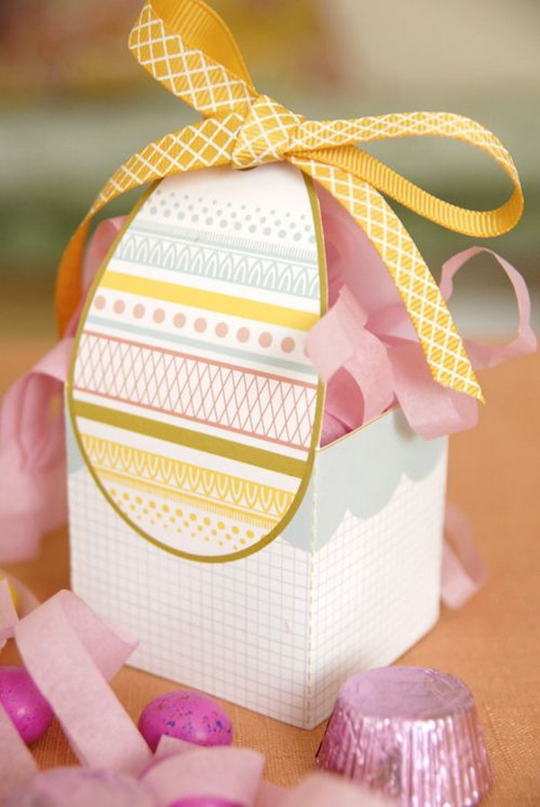 Free printable Easter egg gift box. Let parents and kids create this Easter craft together and have a fun. It's a perfect holder for chocolate goodies, a hard boiled egg or a generous handful of Starburst Jelly Beans.