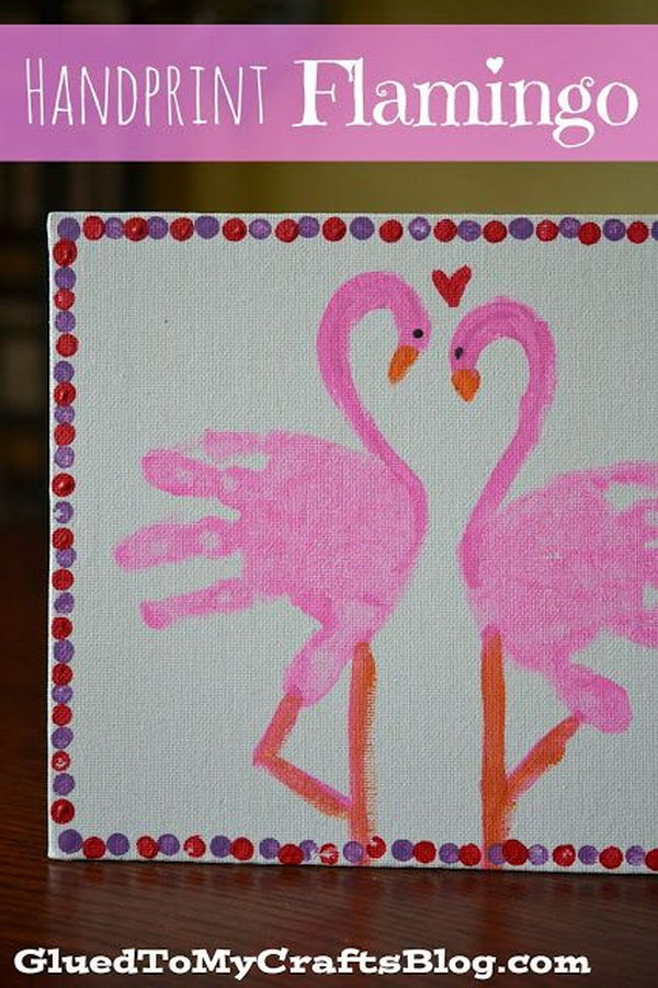 Handprint flamingo. This kid canvas craft is easy to make, but it's meaningful for parents as a Valentine's Day gift. It's a great keepsake for years to come.