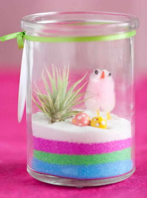 Creative diy holiday gift ideas for parents from kids hative mini easter terrarium its so cute with the chicks and colour stripes the mini negle