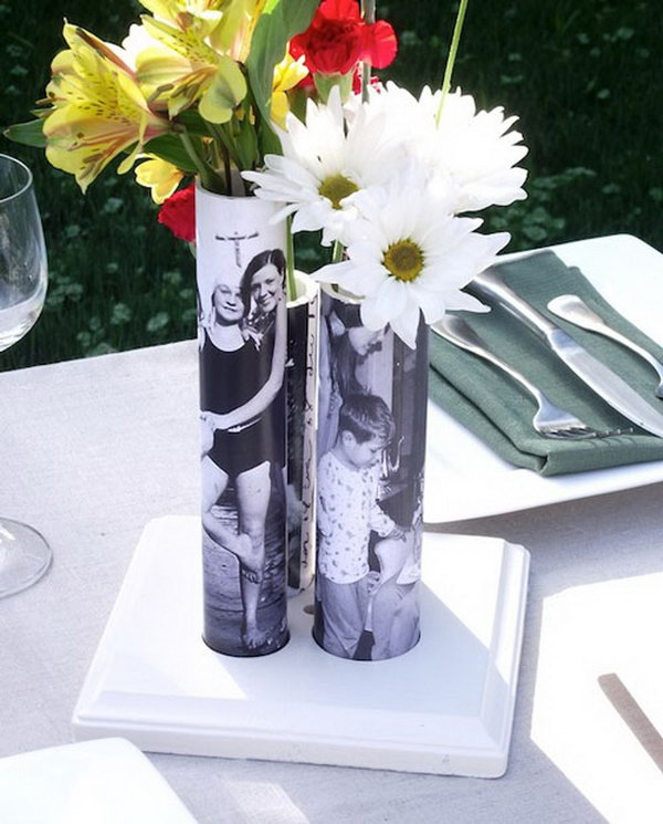Mother's Day DIY vase from a PVC pipe. These photo bud vases are made from PVC pipe and make a gorgeous centerpiece. It can be a appropriate gift for Mother's Day with changeable photos.