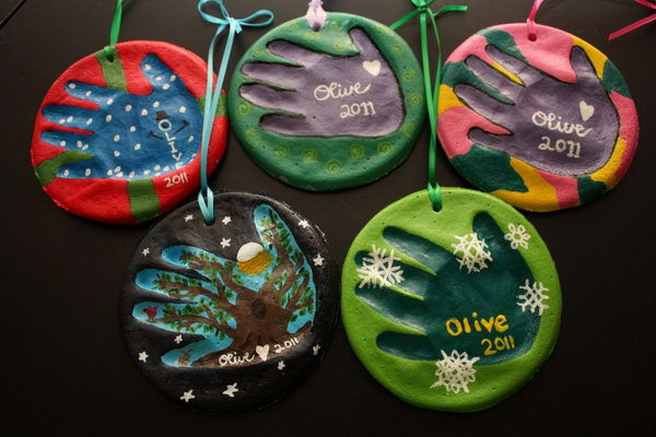 salt dough handprint ornaments make these colourful handprint ornaments with salt dough they are