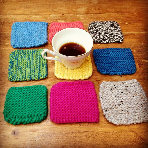 Knitted coasters. Turn extra fibers into colorful coasters, which would make a great gift for anyone on your list. It's a great way to use up extra yarn while preventing coffee from making a mess on table.